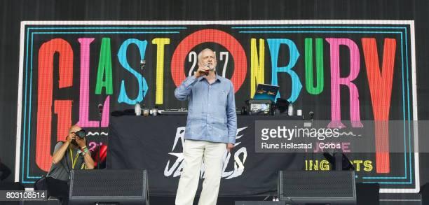 Jeremy Corbyn attends day 3 of the Glastonbury Festival 2017 at Worthy Farm Pilton on June 24 2017 in Glastonbury England