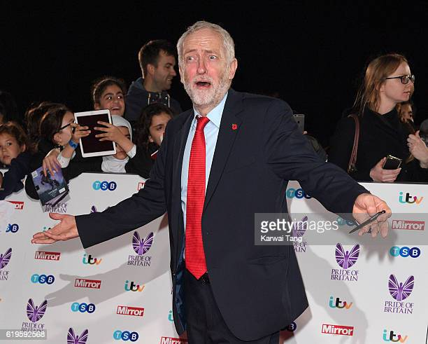 Jeremy Corbyn attends the Pride Of Britain Awards at The Grosvenor House Hotel on October 31 2016 in London England