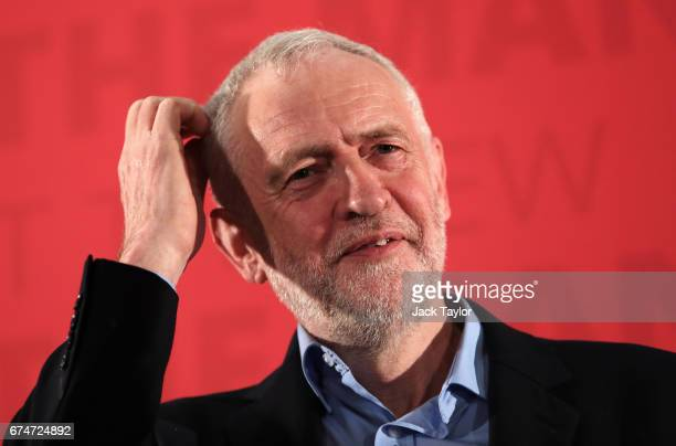 Jeremy Corbyn delivers a campaign speech on leadership on April 29 2017 in London England Britain is to go to the polls on June 8 after British Prime...