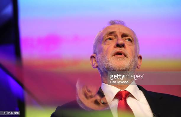 Jeremy Corbyn delivers a speech at The Queen Elizabeth II Conference Centre on February 20 2018 in London England Corbyn addressed the EEF...