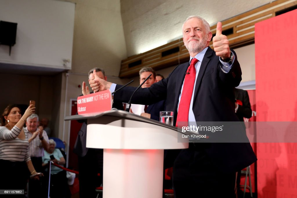 Jeremy Corbyn delivers a speech on Labour's plan for Brexit negotiations at Pitsea Leisure Centre on June 1, 2017 in Basildon, England. Polling analysis released yesterday shows the possibility of a hung parliament in next week's General Election with the Conservative Party falling short of an outright majority.