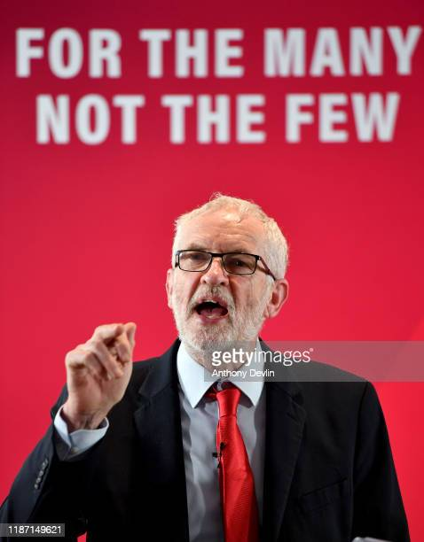 Jeremy Corbyn delivers a speech on the party's education policy at Bloomfield Road football stadium ahead of the general election on November 12,...