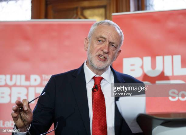 Jeremy Corbyn during a QA session at the Fairfield Ship Building Museum in Govan Glasgow on May 11 2018 in Glasgow Scotland