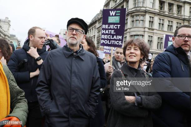 Jeremy Corbyn during the #March4Women 2020 rally at Southbank Centre on March 08 2020 in London England The event is to mark International Women's Day