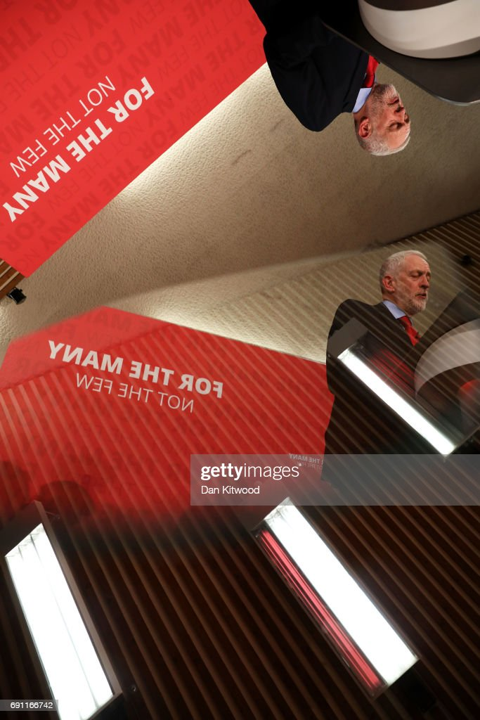 Jeremy Corbyn is reflected in the autocue as he delivers a speech on Labour's plan for Brexit negotiations at Pitsea Leisure Centre on June 1, 2017 in Basildon, England. Polling analysis released yesterday shows the possibility of a hung parliament in next week's General Election with the Conservative Party falling short of an outright majority.