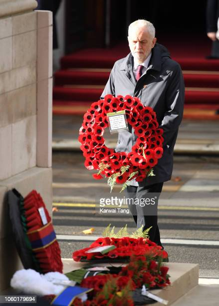 Jeremy Corbyn lays a wreath during the annual Remembrance Sunday memorial at The Cenotaph on November 11 2018 in London England The Armistice ending...