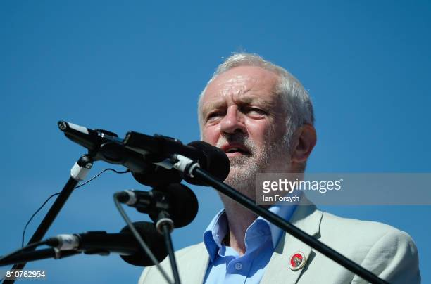 Jeremy Corbyn leader of the Labour party address spectators during the 133rd Durham Miners Gala on July 8 2017 in Durham England Over two decades...