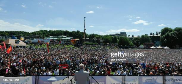 Jeremy Corbyn leader of the Labour party address thousands of spectators during the 133rd Durham Miners Gala on July 8 2017 in Durham England Over...