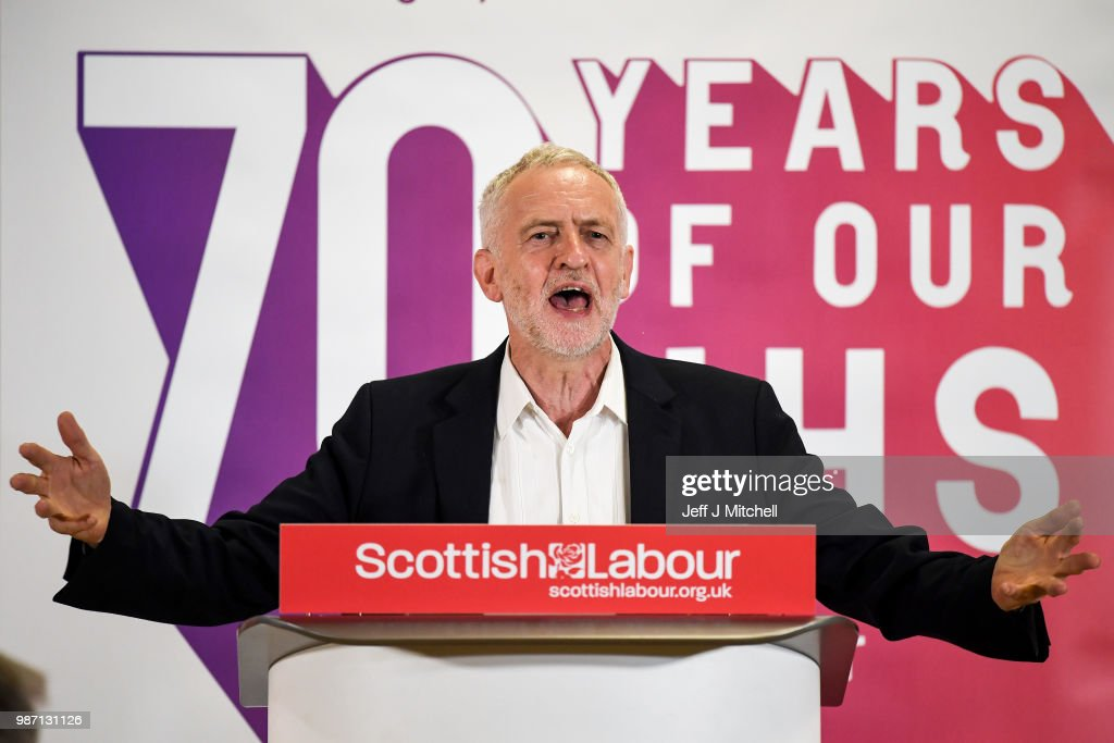 GBR: Jeremy Corbyn Visits Scotland To Pledge More Money For The NHS Under Labour