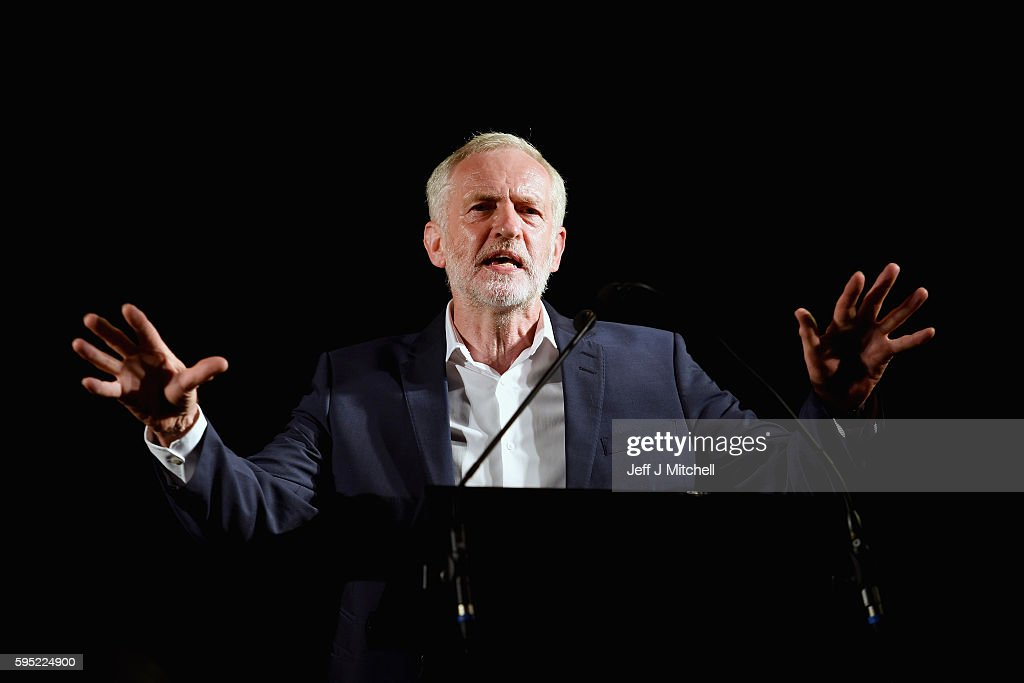Jeremy Corbyn, Leader of the Labour Party addresses a rally at the Crown Plaza hotel on August 25, 2016 in Glasgow, Scotland. Jeremy Corbyn and Owen Smith will go head to head in a debate at the SECC tonight, the hustings event is part of a series organised for the Labour leadership election campaign and is the only one to be taking place in Scotland.