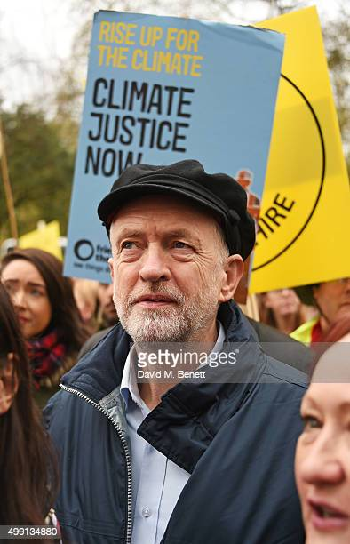 Jeremy Corbyn Leader of the Labour Party attends The People's March for Climate Justice and Jobs ahead of COP21 on November 29 2015 in London England