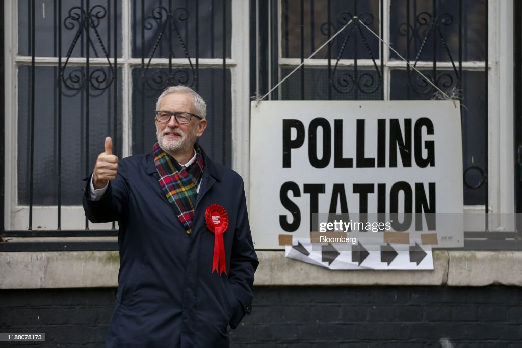 Labour Leader Jeremy Corbyn Votes In The U.K. General Election : News Photo