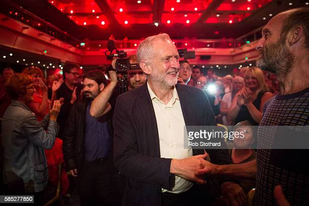 Jeremy Corbyn Leader of the Labour Party is greeted by supporters at the Hilton Metropole hotel on August 2 2016 in Brighton England Mr Corbyn spoke...