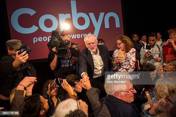 Jeremy Corbyn Leader of the Labour Party is greeted by supporters after speaking at the Hilton Metropole hotel on August 2 2016 in Brighton England...