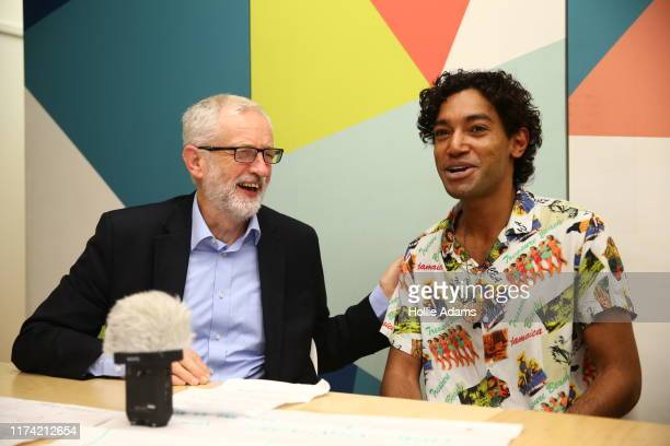 Jeremy Corbyn leader of the Labour Party is interviewed by Soap Box's head of media Mikey Bharj during a visit to Soapbox Youth Centre on October 3...