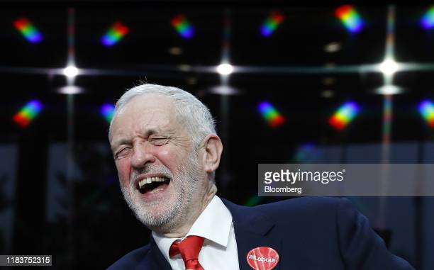 Jeremy Corbyn leader of the Labour party laughs after the launch of the party's general election manifesto in Birmingham UK on Thursday Nov 21 2019...