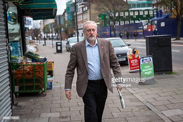 Jeremy Corbyn leader of the Labour Party leaves his home on November 11 2015 in London England Mr Corbyn is expected to join the privy council a...