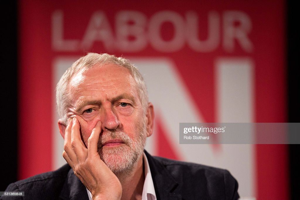 Jeremy Corbyn, leader of the Labour Party, listens to speakers at the Rally to Remain event at The Fleming Room in the QE2 centre on May 14, 2016 in London, England. The Labour leader is presenting Rally to Remain, a campaign event in support of the United Kingdom remaining part of the European Union.