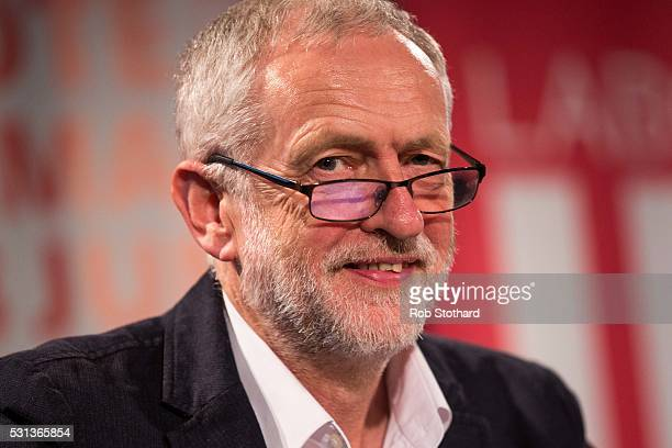 Jeremy Corbyn leader of the Labour Party listens to speakers at the Rally to Remain event at The Fleming Room in the QE2 centre on May 14 2016 in...