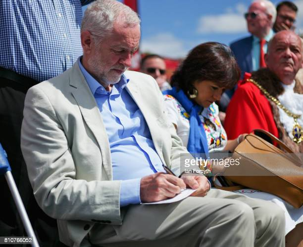 Jeremy Corbyn leader of the Labour party makes final alterations to his speech before speaking at the 133rd Durham Miners Gala on July 8 2017 in...