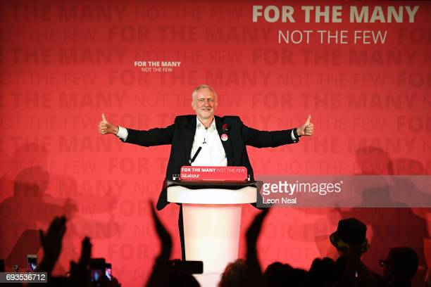 Jeremy Corbyn Leader of the Labour Party speaks during a campaign rally at Union Chapel Islington on June 7 2017 in London United Kingdom The Labour...