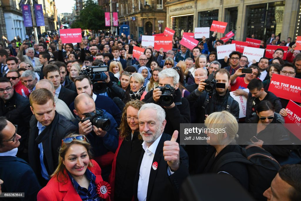 Jeremy Corbyn, Leader of the Labour Party, speaks to activists during a campaign rally on Buchanan Street on June 7, 2017 in Glasgow, Scotland. The Labour leader is holding six rallies across Scotland ,England, and Wales on today on the final day before polling day in General Election.