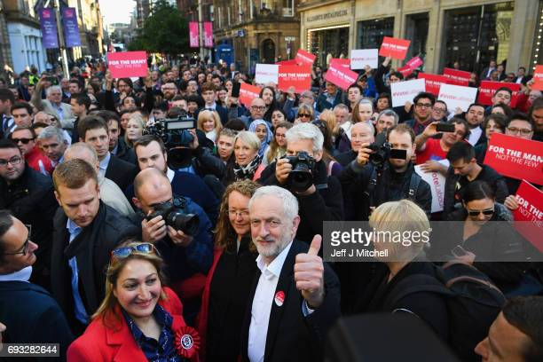 Jeremy Corbyn Leader of the Labour Party speaks to activists during a campaign rally on Buchanan Street on June 7 2017 in Glasgow Scotland The Labour...