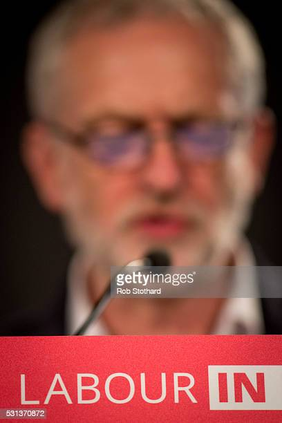 Jeremy Corbyn leader of the Labour Party speaks to supporters at a Rally to Remain event at The Fleming Room in the QE2 centre on May 14 2016 in...
