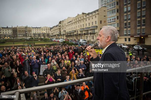 Jeremy Corbyn Leader of the Labour Party speaks to supporters in Regency Square on August 2 2016 in Brighton England Mr Corbyn spoke to those who...