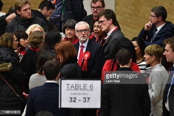 Jeremy Corbyn, leader of the Labour Party, visits the vote count in his Islington North constituency on December 12, 2019 in London, England. Corbyn,...