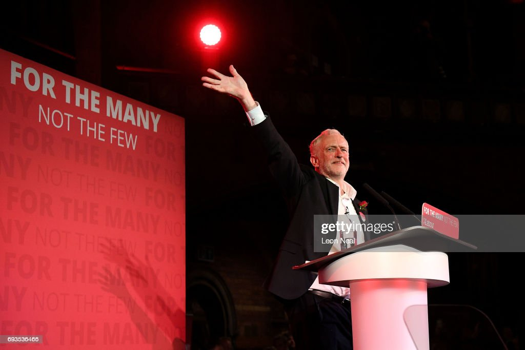 Jeremy Corbyn, Leader of the Labour Party waves to supporters after speaking a campaign rally at Union Chapel Islington on June 7, 2017 in London, United Kingdom. The Labour leader is holding six rallies across Scotland, England and Wales today on the final day before polling day in the General Election.