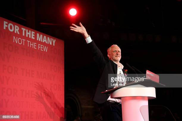 Jeremy Corbyn Leader of the Labour Party waves to supporters after speaking a campaign rally at Union Chapel Islington on June 7 2017 in London...