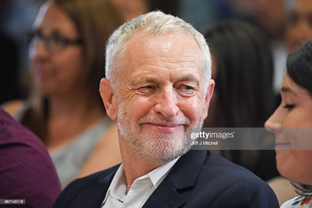Jeremy Corbyn Visits Scotland To Pledge More Money For The NHS Under Labour : News Photo