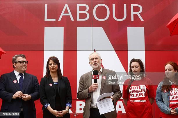 Jeremy Corbyn leader of the UK opposition Labour Party center speaks as Tom Watson deputy leader of the UK opposition Labour Party left and Gloria De...