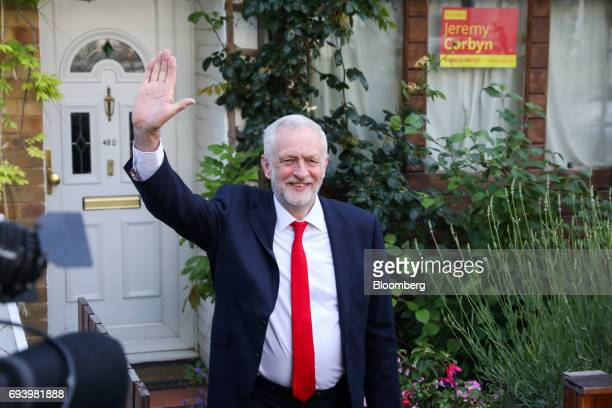 Jeremy Corbyn leader of the UK opposition Labour Party gestures as he leaves his home in London UK on Friday June 9 2017 Theresa May'sfuture as...