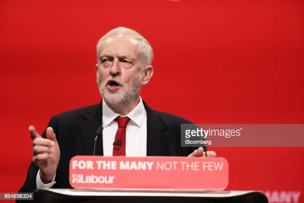 Jeremy Corbyn leader of the UK opposition Labour Party gestures as he delivers his keynote speech on the closing day of the annual Labour Party...