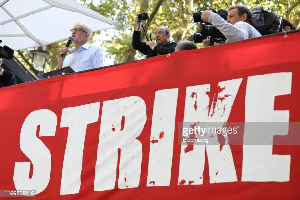 Jeremy Corbyn leader of the UK opposition Labour party left addresses the Global Climate Strike demonstration in London UK on Friday Sept 20 2019 A...