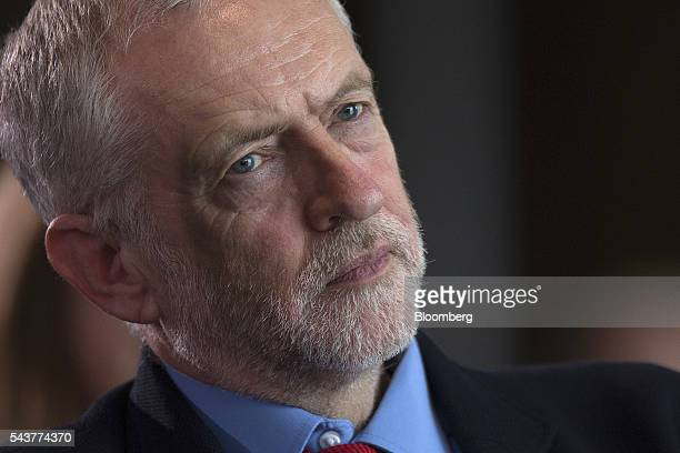 Jeremy Corbyn leader of the UK opposition Labour Party pauses during a news conference in London UK on Thursday June 30 2016 The standoff between...