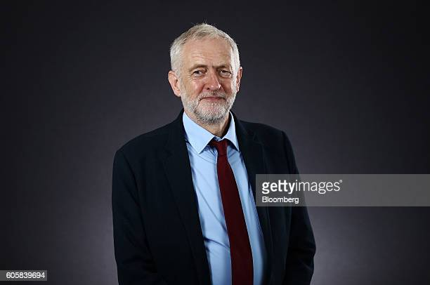 Jeremy Corbyn leader of the UK opposition Labour Party poses for a photograph following a Bloomberg Television interview in London UK on Thursday...