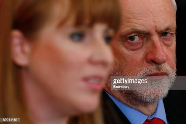 Jeremy Corbyn leader of the UK opposition Labour Party right listens as Angela Rayner Labour Party spokesperson for education speaks during a...