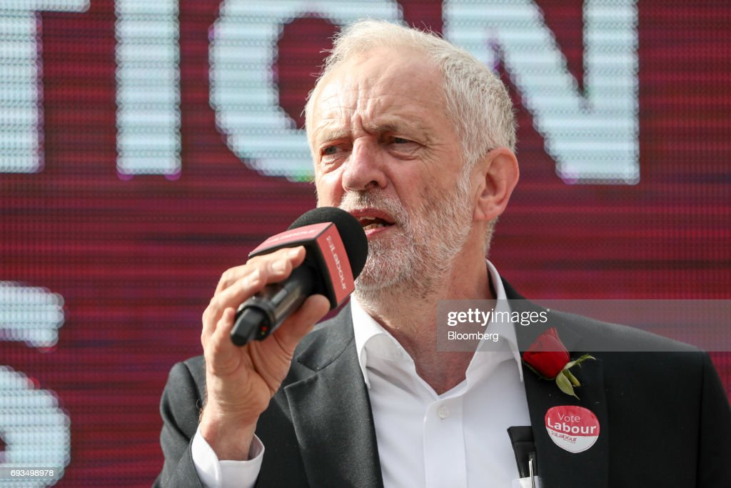 Jeremy Corbyn, leader of the U.K. opposition Labour Party, speaks during a general-election campaign rally in Watford, U.K., on Wednesday, June 7, 2017. The prime minister Theresa May and Corbyn, set out on whistle-stop tours of the country ahead of Thursday's vote, with polls all showing May's Conservatives ahead but disagreeing about whether the race is close.r. Photographer: Simon Dawson/Bloomberg via Getty Images