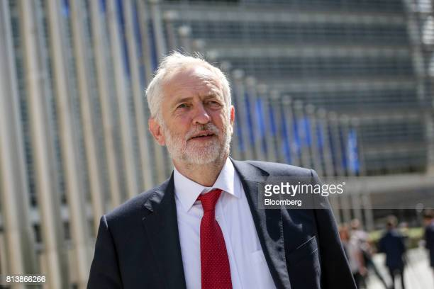 Jeremy Corbyn leader of the UK's opposition Labour Party departs following talks with the European Union chief negotiator Michel Barnier at the...