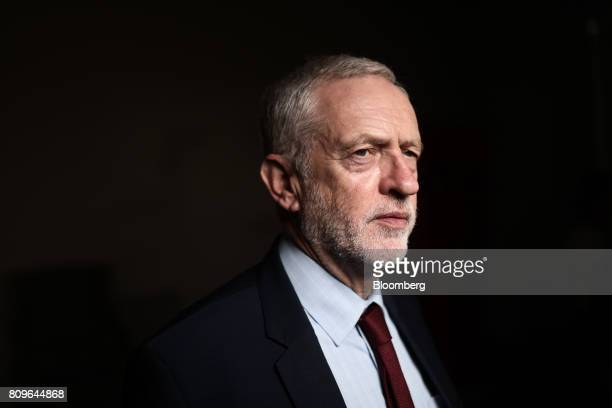 Jeremy Corbyn leader of the UK's opposition Labour Partyposes for a photograph following a Bloomberg Television interview at the British Chambers of...