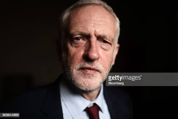 Jeremy Corbyn leader of the UK's opposition Labour Party poses for a photograph following a Bloomberg Television interview at the British Chambers of...