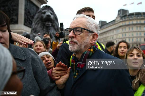 Jeremy Corbyn leaves Trafalgar Sq after speaking at a rally on January 11, 2020 in London, England. Saturday's demonstration was co-organized by the...