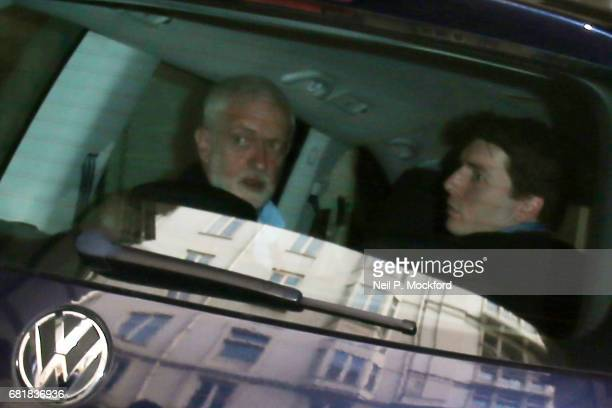 Jeremy Corbyn looks around as he arrives at Savoy Place on May 11 2017 in London United Kingdom His vehicle hit BBC Cameraman Giles Wooltorton on the...
