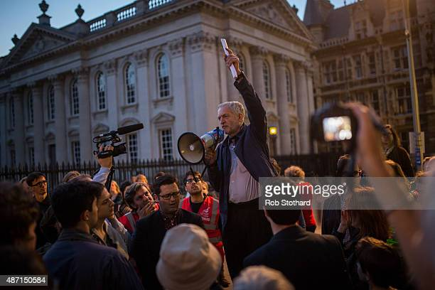 Jeremy Corbyn MP for Islington North and candidate in the Labour Party leadership election speaks to supporters outside Great St Mary's church on...