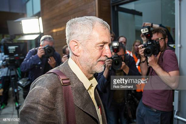 Jeremy Corbyn MP for Islington North and candidate in the Labour Party leadership election arrives at the Rock Tower on September 10 2015 in London...