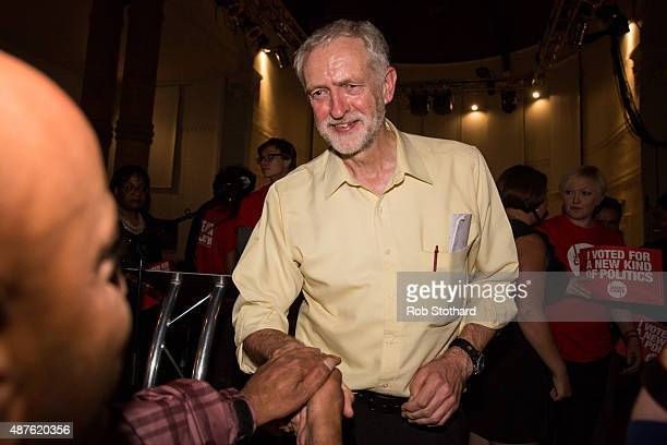 Jeremy Corbyn MP for Islington North and candidate in the Labour Party leadership election is greeted by supporters after speaking at the Rock Tower...