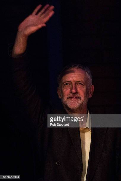 Jeremy Corbyn MP for Islington North and candidate in the Labour Party leadership election speaks to supporters at the Rock Tower on September 10...